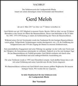 Nachruf Gerd Meloh